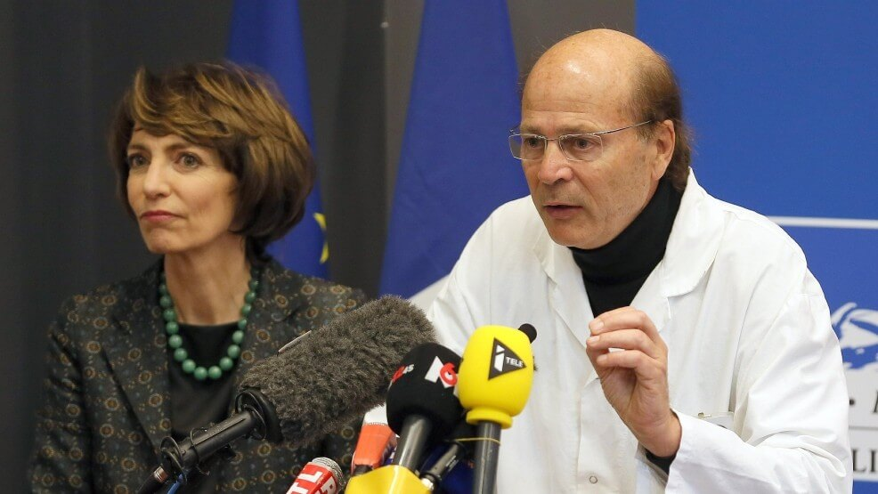 French Health Minister Marisol Touraine and Professor Gilles Edan, the chief neuroscientist at Rennes Hospital, address the media during a press conference held in Rennes, western France