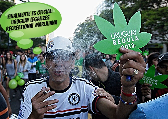 Above: A pro-cannabis supporter smokes a hand-rolled joint at a Uruguay legalization rally in 2013. Similar to the rallies that have taken place in the past such as those in 2012, Uruguayan supporters held marijuana leaf cutouts and chanted for the end of prohibition against this miracle plant.