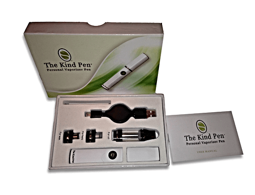 Above: The Kind Pen v2 full start-up kit in all of its glory. This specific kit includes: 1 Mouthpiece - 1 Li-Ion Battery - 1 Micro USB Charger - 1 User Manual - 1 Wax Attachment - 1 Oil Attachment - 1 Herb Attachment - 1 Dabber Tool and 1 Lifetime Warranty on its battery!