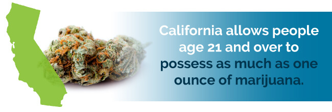 California allows people age 21 and over to posses as much as one ounce of marijuana