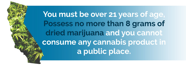 You must be over 21 years of age, posses no more than 8 grams of dried marijuana and cannot consumer any cannabis products in a public place