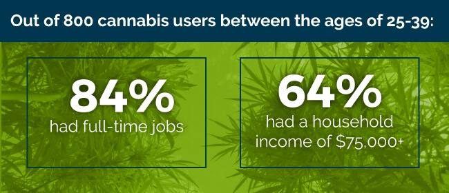 Out of 800 cannabis users between the ages of 25-39: 84% had full-time jobs and 64% had a household income of $75,000
