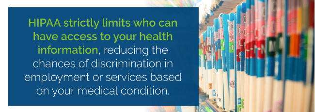 HIPPA strictly limits who can have access to your health information, reducing the chances of discrimination in employment or services based on your medical condition