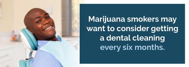 Marijuana smokers may want to consider getting a dental cleaning every six months