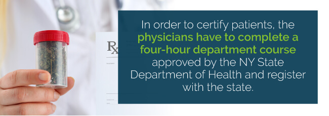 In order to certify patients, the physicians have to complete a four-hour department course approved by the by State Department of Health and register with the state