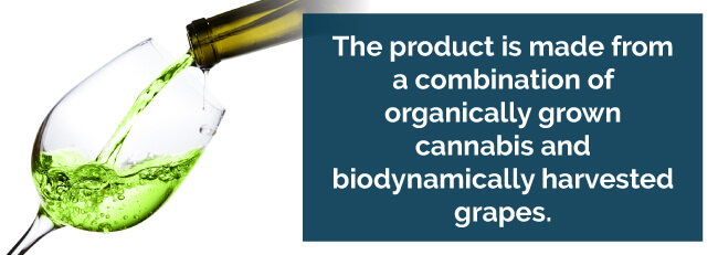 The product is made form a combination of organically grown cannabis and biodynamically harvested grapes