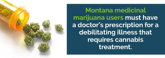 Montana medicinal marijuana users must have a doctor's prescription for a debilitating illness that requires cannabis treatment
