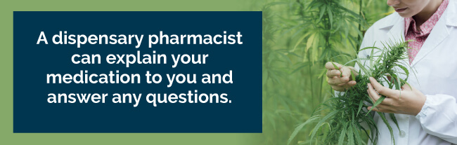 A dispensary pharmacist can explain your medication to you and answer any questions