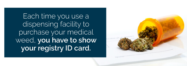 Each time you use a dispensing facility to purchase your medical weed, you have to show your registry ID card