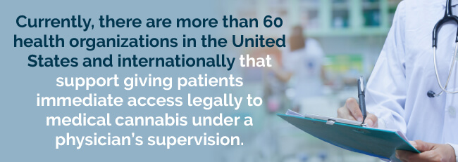 There are more than 60 health organizations that support giving patients immediate access legally to medical cannabis