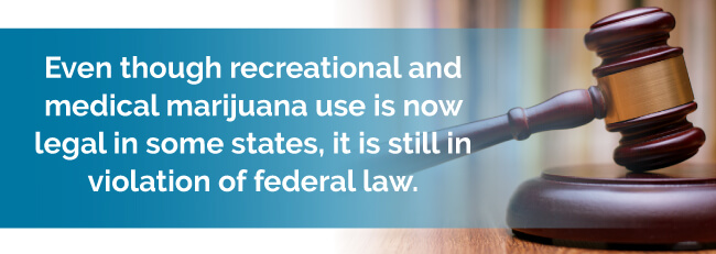 Even though recreational and medical marijuana use is now legal in some states, it is still in violation of federal law